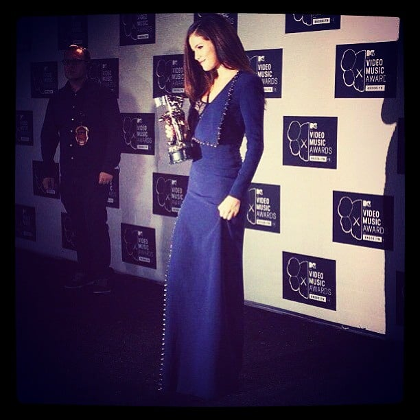 Selena Gomez showed off her shiny Moonman backstage after taking home the best female video award. Source: Instagram user selenagomez