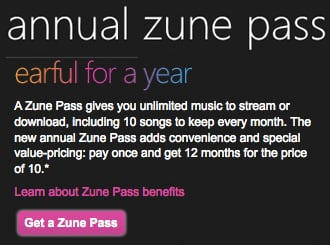 Yearly Microsoft Zune Pass