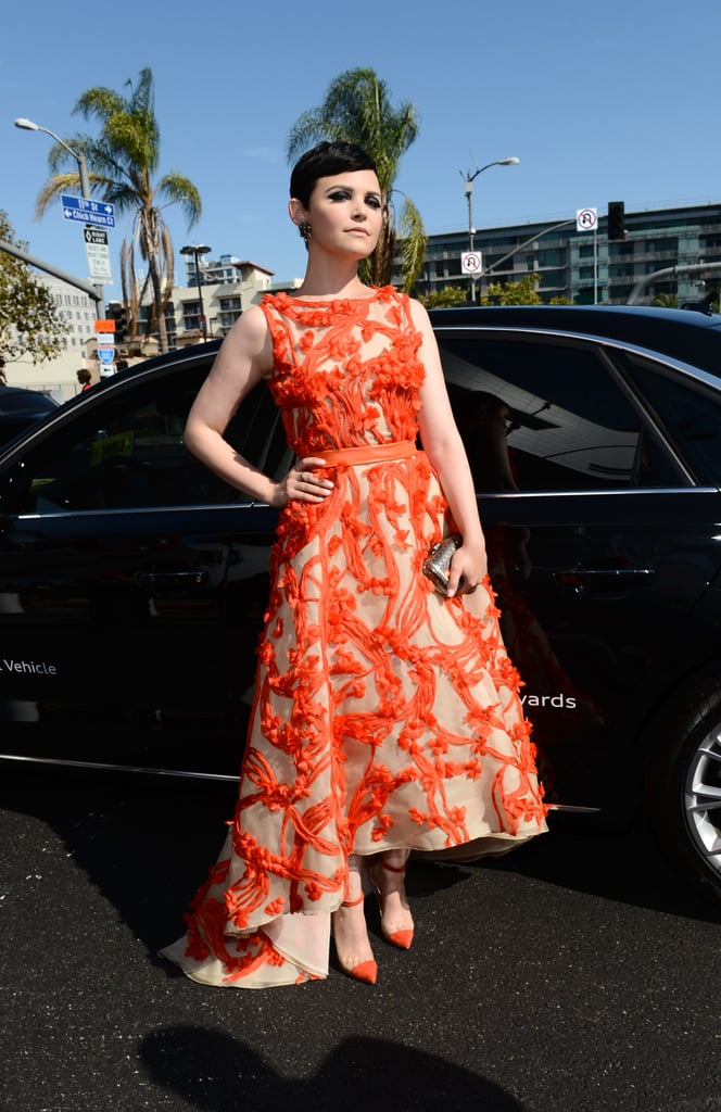 We couldn't have been more excited when we spied Ginnifer Goodwin in this tangerine Monique Lhuillier creation. It's the perfect colour and cut for her, and the super-duper Christian Louboutin Un Bout heels match perfectly. Win!