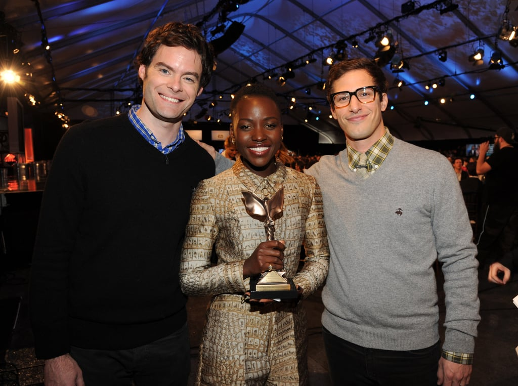 Funny guys Bill Hader and Andy Samberg scored a snap with Lupita at the Independent Spirit Awards too.
