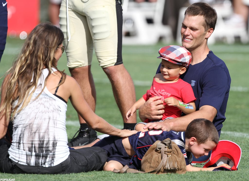 Gisele Bündchen and Tom Brady had a family day with Jack Moynahan and Benjamin Brady in August at the Patriots training camp near Boston.
