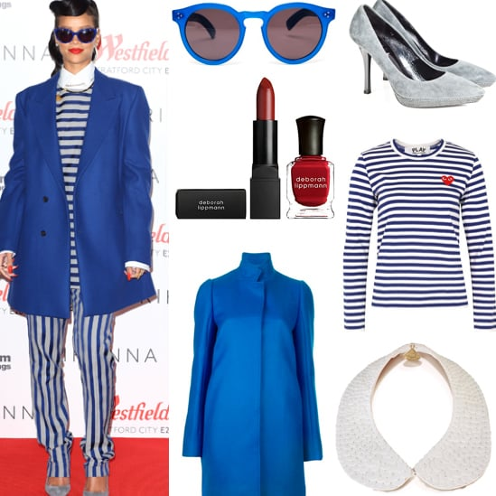 Rihanna's Blue and White Striped Outfit in London