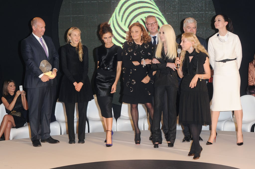 Victoria Beckham, Diane von Furstenburg and Donatella Versace at the International Woolmark Prize