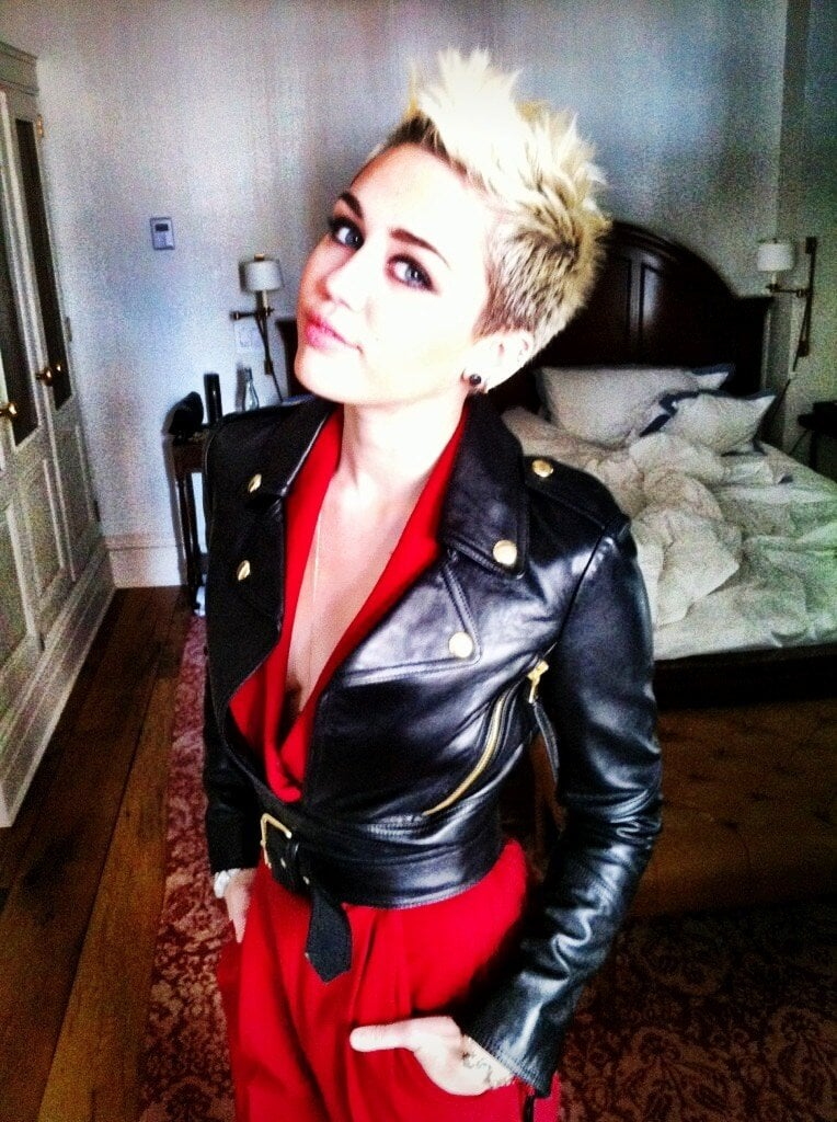 Miley Cyrus posed in a slick leather jacket before heading to Rachel Zoe's Fall show. Source: Twitter user MileyCyrus