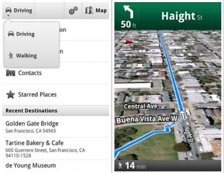 Walking Navigation on Google Maps 4.5 Update