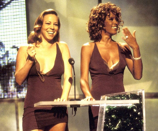 Mariah Carey and Whitney Houston made light of their alleged feud by wearing the same dress to present in 1998.