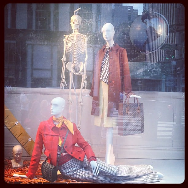 Chloe and Goyard took us back to school with this academic-themed window display at Bergdorf Goodman.