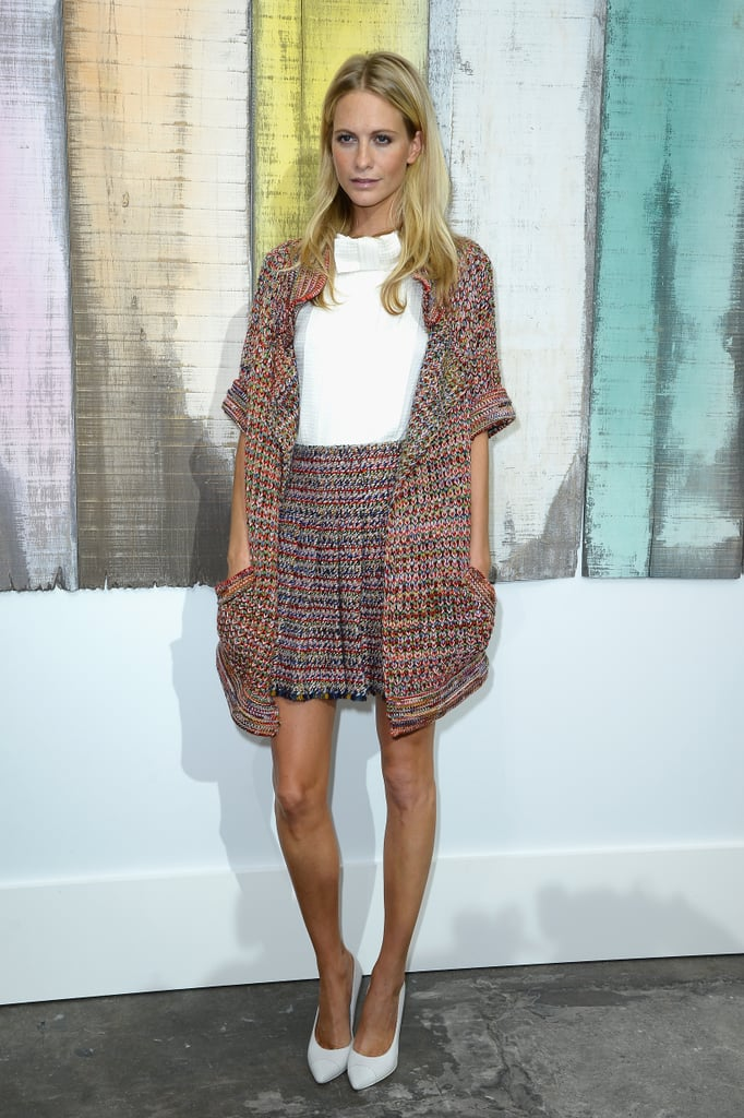 Poppy Delevingne got preppy in the front row of Chanel's show.