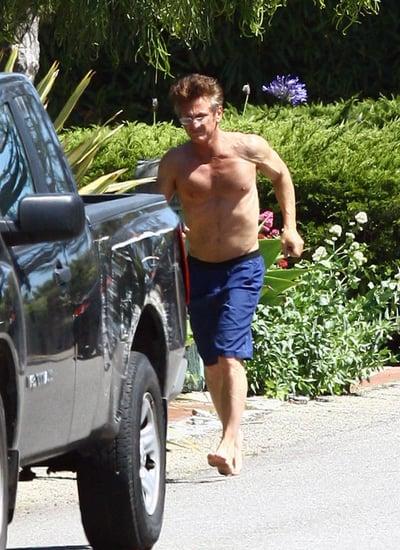 Sean Penn Paddle Boarding Shirtless in Malibu