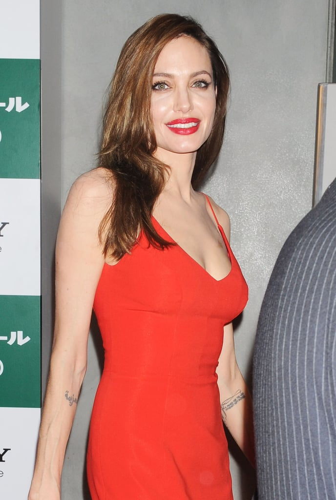 Angelina Jolie in a red dress.