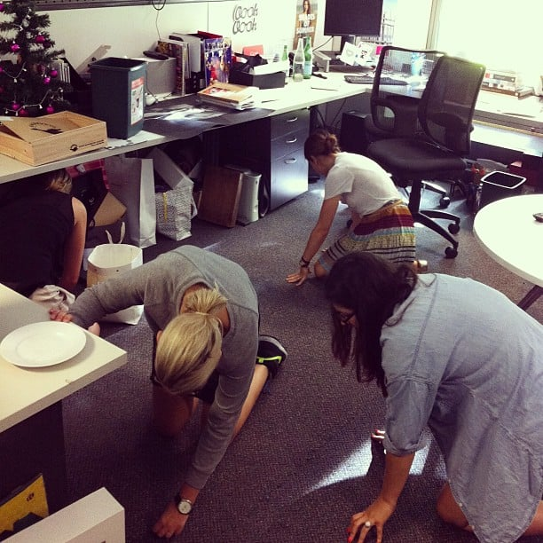 Office assistant Tara's lost diamond earring = the whole team on the floor, eyes peeled. Ps: Tara found it . . . in her handbag!