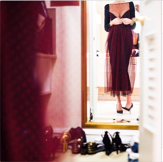 J.Crew's Jenna Lyons showed off a sneak peek of her afterparty dress. Source: Instagram user jcrew