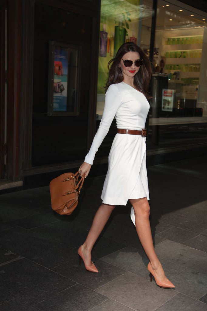 Miranda Kerr looked sexy and sleek in this Willow dress (yay for Aussie designers!), Miu Miu belt and those Lanvin all-rounder heels. Staying true to form, Miranda kept things classic and neutral — and never looked better!