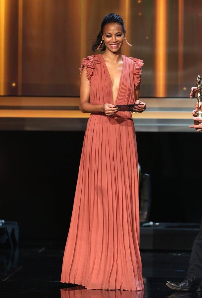 Zoe Saldana hit the stage at the ALMA Awards in LA.