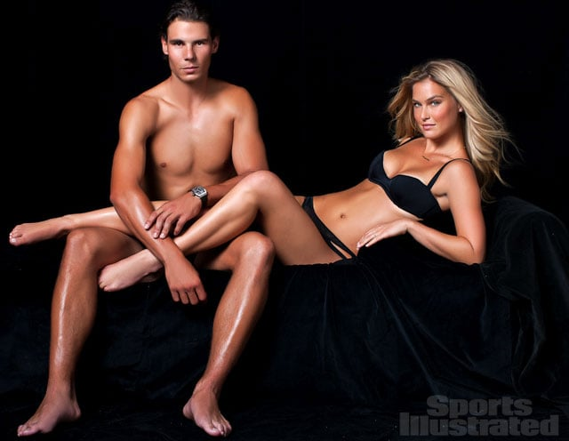 Bar Refaeli and Rafael Nadal modeled together.