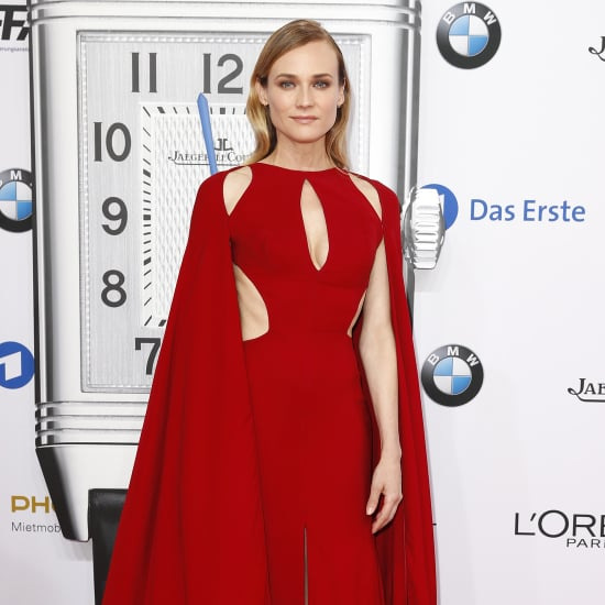 Diane Kruger Wearing Red Naeem Khan Cape Dress