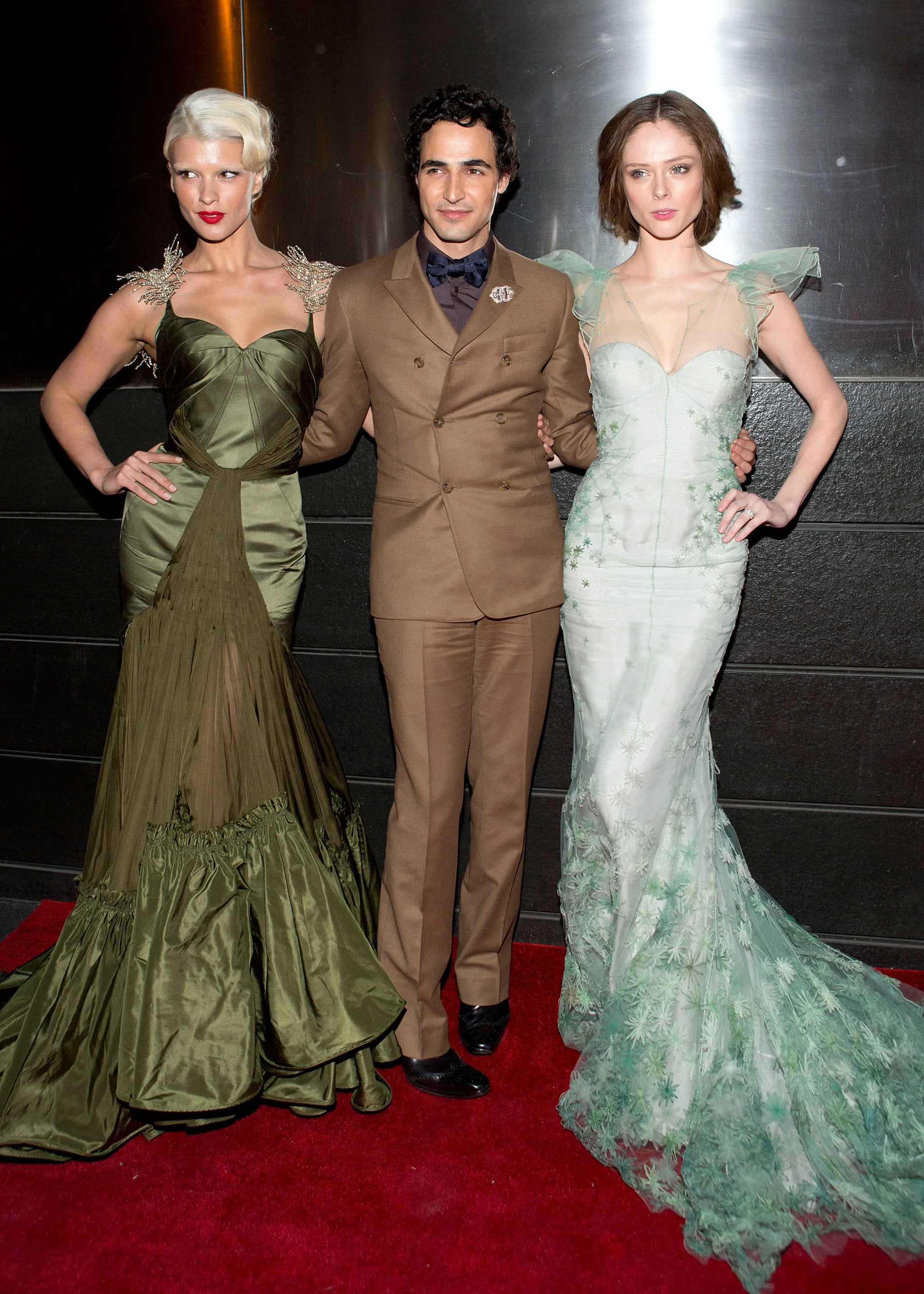 At the ninth annual Spring Dinner Dance New Year's in April gala, Zac Posen posed with his loyal ladies — Crystal Renn and Coco Rocha. The two stunners both wore gorgeous body-con gowns by Posen, too.