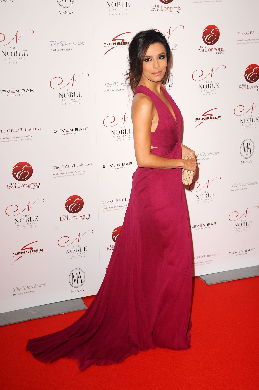 Eva's plunging raspberry J. Mendel looked lovely on the Noble Gift Gala red carpet in December 2011.