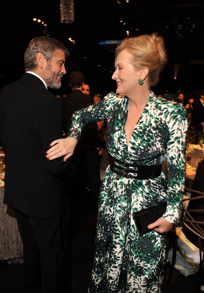 George Clooney and Meryl Streep had a cute moment in passing during the 2010 show.