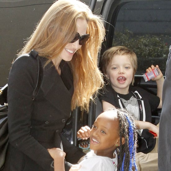 Angelina Jolie at Airport With Shiloh and Zahara Pictures