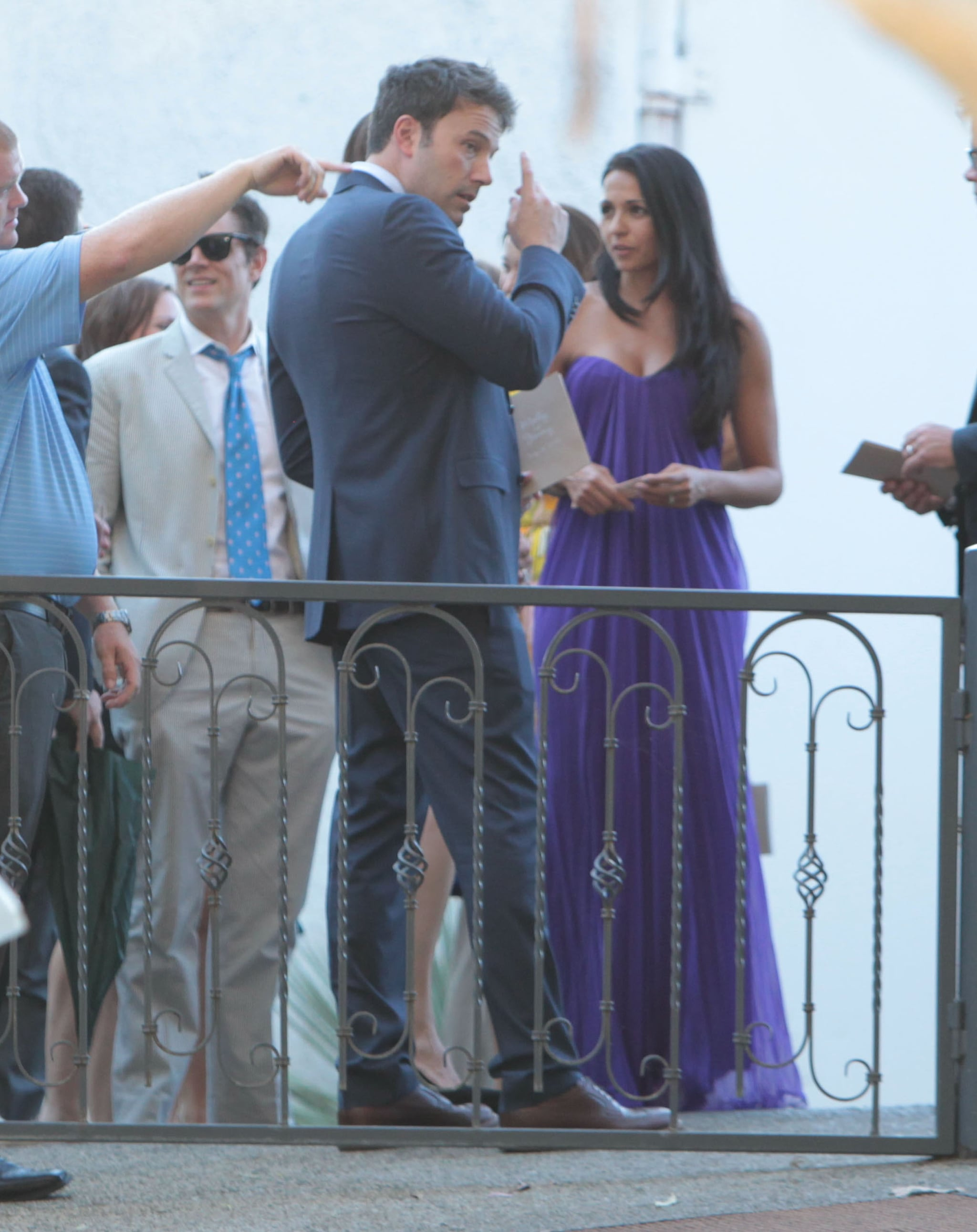 Ben Affleck and Luciana Damon chatted at Jimmy Fallon's July 2013 wedding in Ojai, CA.