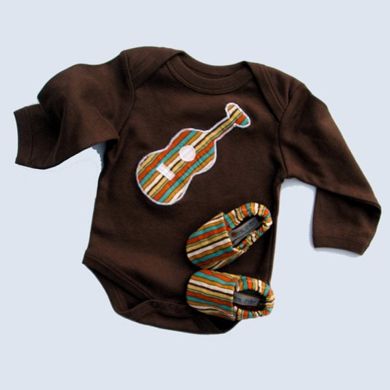 For the concert- and festival-loving family, it doesn't get cuter than Etsy user GrowingUpWild's Organic Guitar Onesie with Striped Shoes ($40). The maker promises that the set will arrive in eco-friendly packaging, and if it's a gift, she will include a handwritten card.