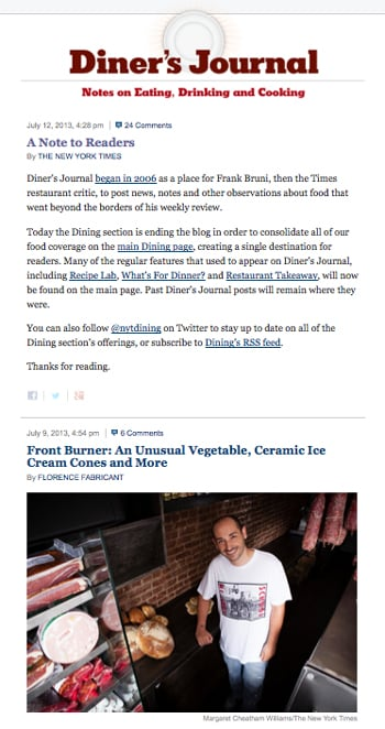 New York Times Food Blog Is No More