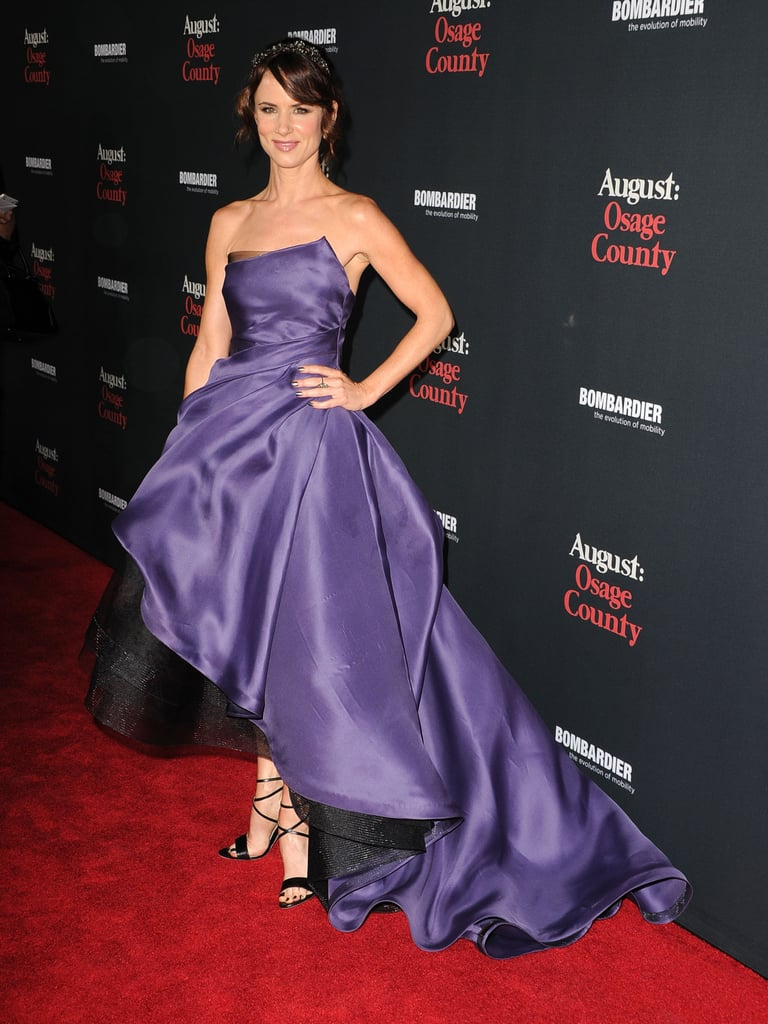 Monique Lhuillier's regal purple gown was a fittingly opulent choice with the holidays fast approaching. A touch of sparkle only enhanced Juliette Lewis's festive design at the LA August: Osage County premiere.