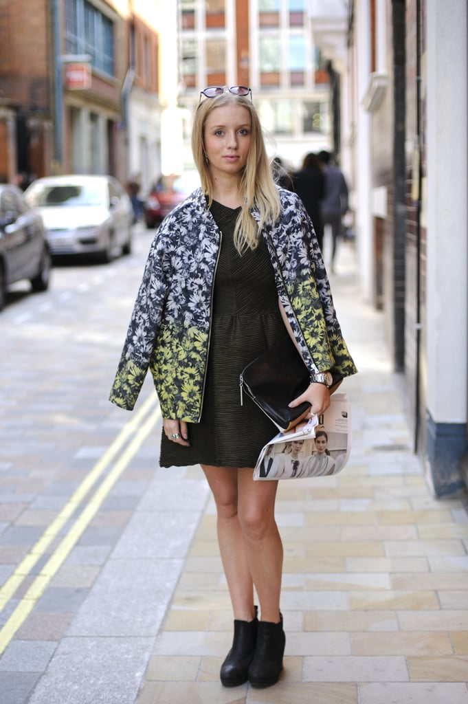 This printed ombré jacket tops off a chic LBD with a bold flourish.