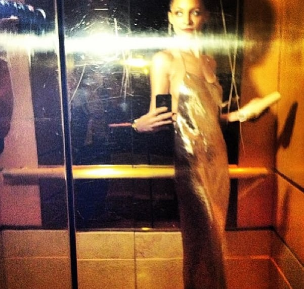 Nicole Richie stopped to take a quick selfie in the elevator.  Source: Instagram user JoelMadden