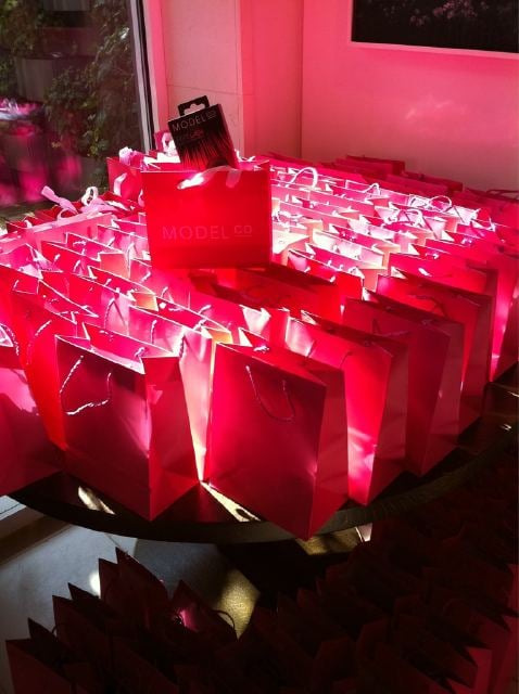 Dannii Minogue tweeted the gift bags from the ModelCo event. Twitter User: danniiminogue