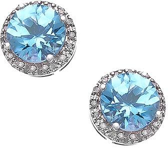 Viducci Gold Blue Topaz and Pave Diamond Earrings