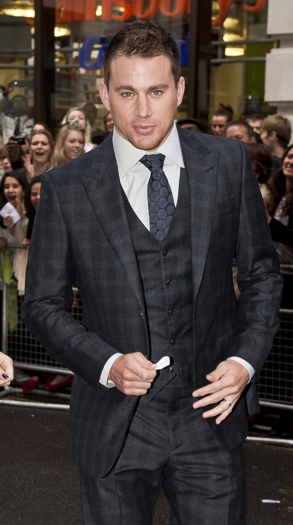 Channing wore a plaid suit for a July 2012 appearance in London.