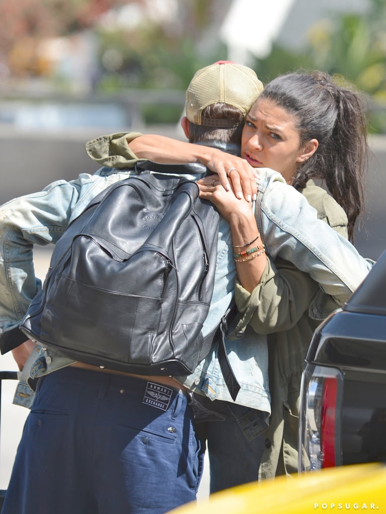 Ed Westwick and Jessica Szohr embraced before he caught a flight at LAX.