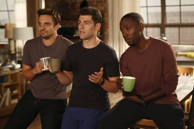 Jake Johnson as Nick, Max Greenfield as Schmidt, and Lamorne Morris as Winston on season two of New Girl.