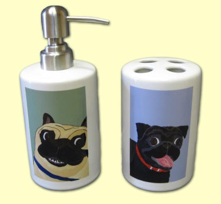 Pugs in Bathroom