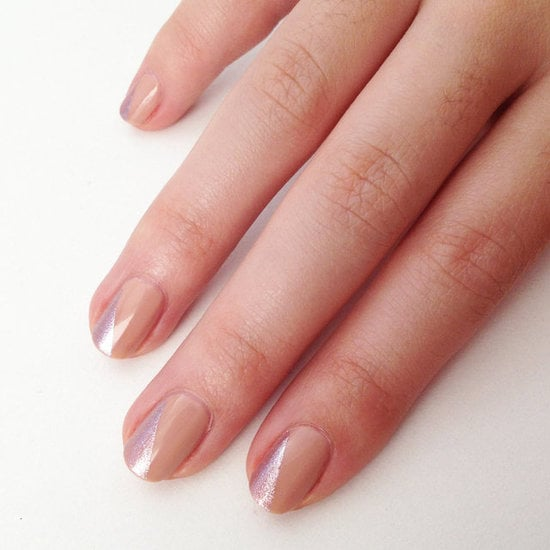 Already have a nude polish and a shimmering metallic in your stash? This nude nail art idea is a fun way to dress up simple nails and is subtle enough for those who want something a little more modest.