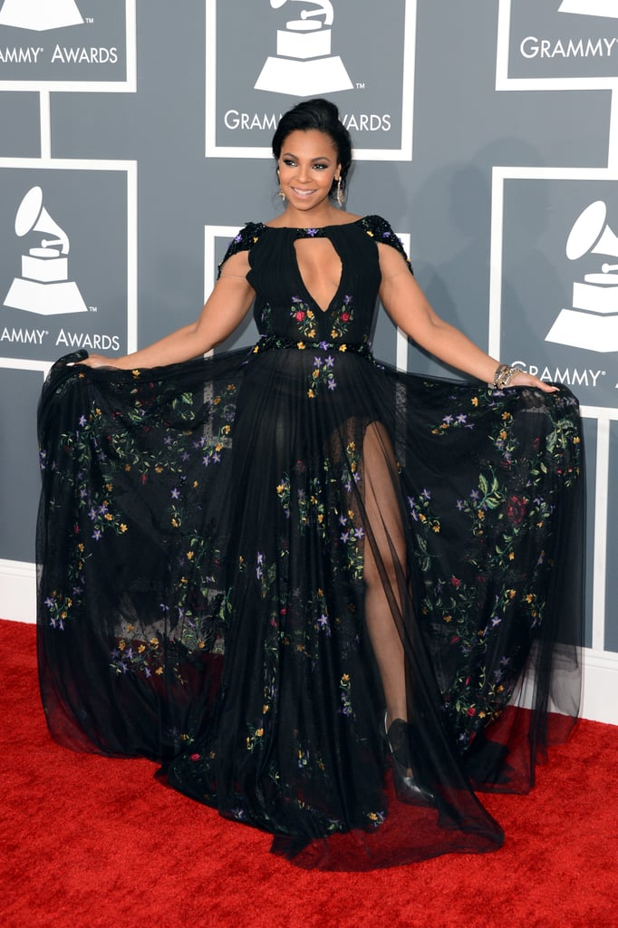 Ashanti showed off her dress at the Grammys.