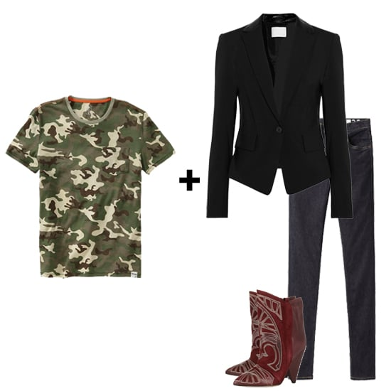 Camouflage is a hot Fall trend. Try pairing this simple men's tee with a slick blazer, dark jeans, and a pair of killer, studded oxblood boots for a casual, yet polished, downtown look.  Get the look:  Gap x Todd Snyder Camo Pocket Tee ($30) Alexander Wang Wool-Blend and Leather Blazer ($735) Wood Wood High Waisted Skinny Jean ($170) Isabel Marant Blackson Boots ($1,325)