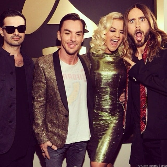 Jared Leto made a hilarious face alongside his bandmates and Rita Ora. Source: Instagram user ritaora