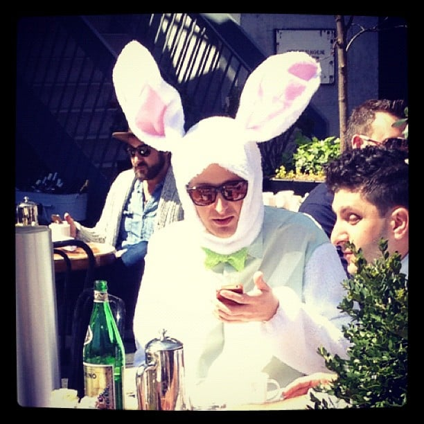 Spotted: the Easter Bunny grabbing a latté before a busy Sunday.