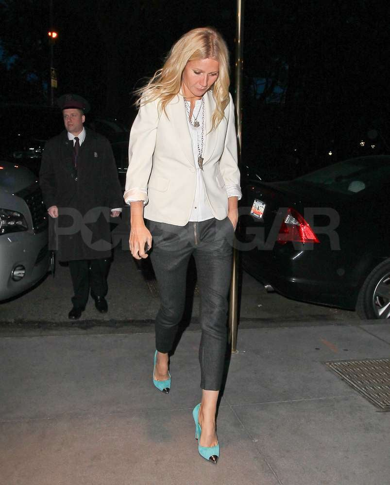 Gwyneth Paltrow wore a white blazer with a pair of black cropped pants out in NYC.