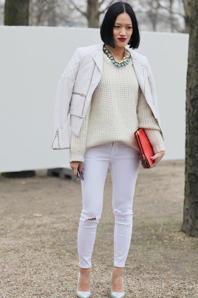 White on white glamorized with statement jewels.