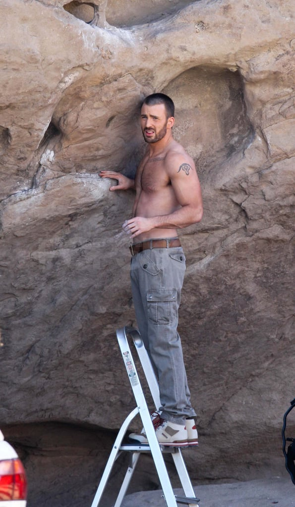 Chris Evans shirtless on a Details photo shoot.