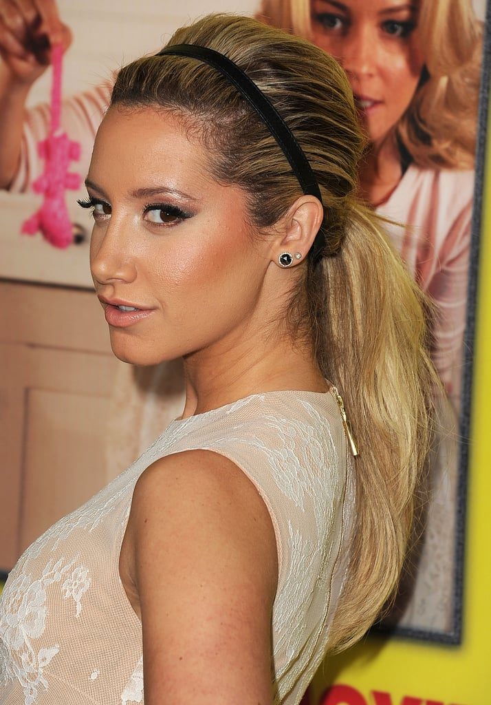 Adding a basic headband to a low ponytail, like Ashley Tisdale at the Movie 43 premiere, is one way to pump up the casual style.