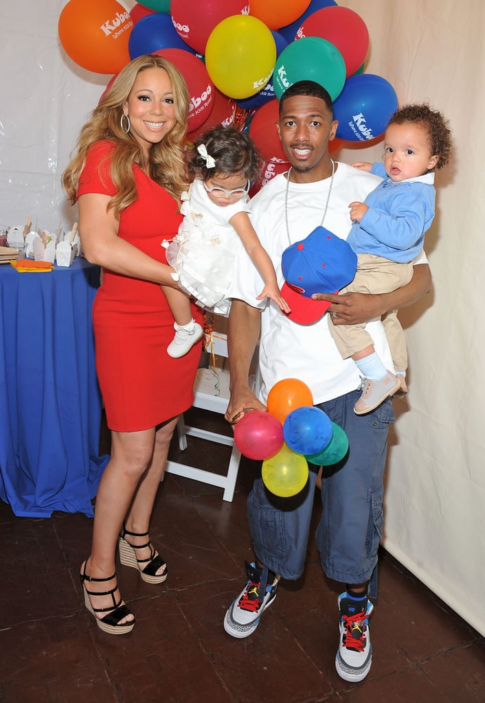 Mariah Carey and Nick Cannon held their twins, Monroe and Moroccan Cannon.