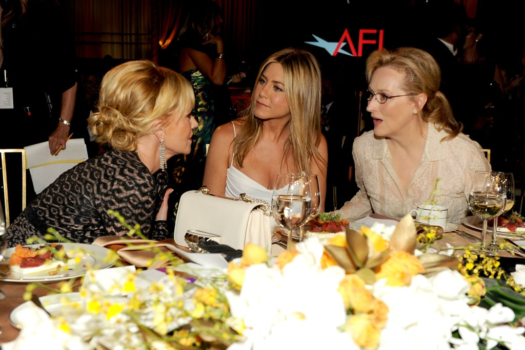 Jennifer Aniston got together with Meryl Streep and Melanie Griffith at the AFI Life Achievement Award dinner honouring Shirley MacLaine in LA.