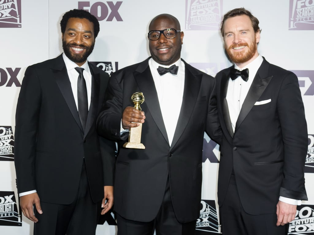 12 Years a Slave's Chiwetel Ejiofor, Steve McQueen, and Michael Fassbender smiled with their award.