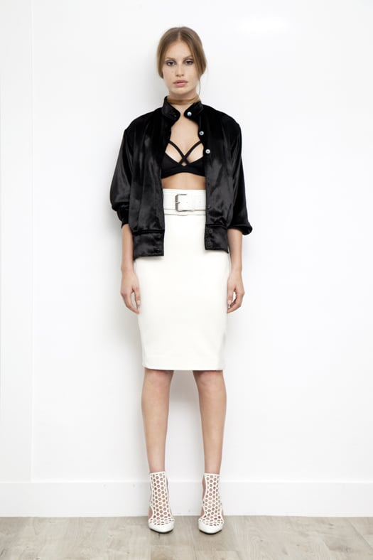 Viscose Sports Bra in Black ($150), Panne Velvet Bomber Jacket in Black ($695), Leather Slim Skirt in Cream ($1,195), Secret Place Patent Mesh Sandal Bootie in Cream ($895) Photo courtesy of Tamara Mellon