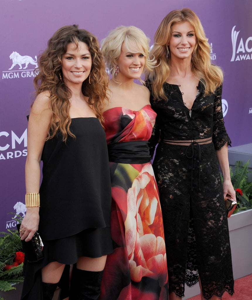 Shania Twain, Carrie Underwood, and Faith Hill met up on the red carpet.
